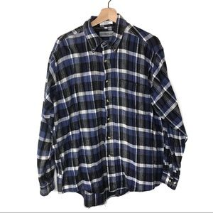 Members Only Blue Plaid Long Sleeve Button Down